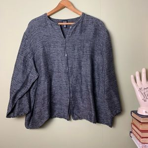 Eileen Fischer Linen & Cotton Button Cardigan Top